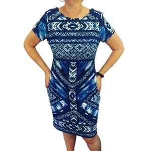 EVENTS sz M /12 - 14 blue Aztec print fitted dress corporate special occasion